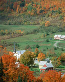 East Orange, Vermont. Aerial view of a town with church steeple in autumn, Vermont Stock Images