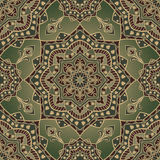 East ornament in shades of green. Vintage oriental ornament of mandalas in shades of green. Template for carpet, shawl, wallpaper. Vector seamless ornamental Royalty Free Stock Photos