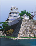 East palace on the riverside. East emperor's palace at a lake stock illustration