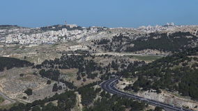 The east passage way of road number 01 to Jerusalem, Israel stock footage