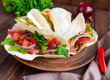East pita bread with various fillings (meat, salami, egg, cucumber, parsley, tomato, chili pepper, Dijon mustard). Stock Photography