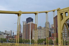 East of Pittsburgh looking through the Clemente bridge Royalty Free Stock Photos
