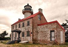 East Point Light Lighthouse in Southern New Jersey. Historic East Point Light lighthouse building as maritime navigation aid on the Delaware Bay in Maurice River Royalty Free Stock Photography