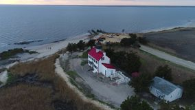 East point lighthouse Maurice River Heislerville NJ stock video footage