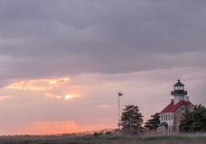 East Point Lighthouse, New Jersey at sunset Royalty Free Stock Images