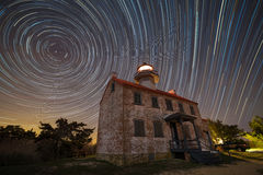 East point lighthouse star trails Royalty Free Stock Photo