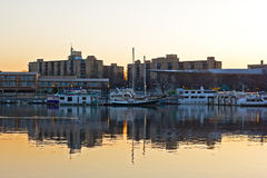 East Potomac Washington channel before the sunrise. Yachts reflection in still water of Washington channel Stock Photography