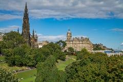 East Princes Street Gardens, Edinburgh, Scotland. On a sunny day stock images