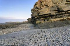 East Quantoxhead Beach. Blue Lias Beach and Shale, Marl & Limestone Cliffs, East Quantoxhead Beach, Somerset, England Stock Photos