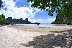 East Railay bay at low tide. The East Railay beach is swimmable only at high tide royalty free stock image
