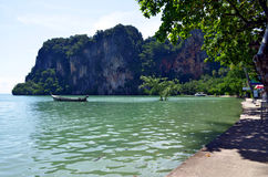 East Railay beach at hight tide. The East Railay beach is a mangrove at high tide royalty free stock images