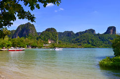 East Railay beach at hight tide. The East Railay beach is a mangrove at high tide stock images