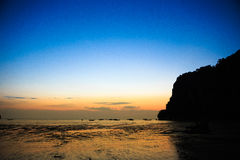 East Railay Beach in the morning. Sunrise at East Railay Beach Royalty Free Stock Image