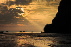 East Railay Beach in the morning. Sunrise at East Railay Beach Stock Photography