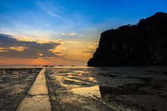 East Railay Beach in the morning. Sunrise at East Railay Beach Royalty Free Stock Photography