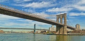 East River桥梁 免版税图库摄影
