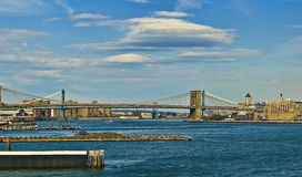 East River Bridges. East River view looking North - Brooklyn and Manhattan Bridges Stock Photography