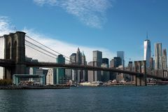 East River from Brooklyn, New York City. Brooklyn Bridge, East River, Janes Carousel, Brooklyn Bridge Park, South Street Seaport, Financial District, World Trade royalty free stock image