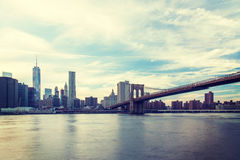 East River with Brookyln Bridge Royalty Free Stock Images