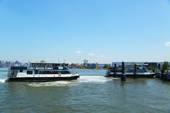 East River ferry boats at Williamsburg Stop Royalty Free Stock Image