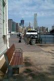East River Ferry and New York Skyline USA Stock Photos