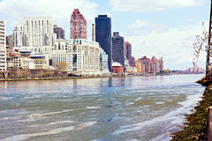 East River and Lower Manhattan from Roosevelt Island. Royalty Free Stock Images