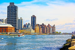 East River and Manhattan on early morning. Stock Images