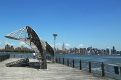 East River pier overlooking Midtown Manhattan Royalty Free Stock Image