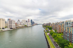 East river and Roosevelt island from  Roosevelt Island Tramway Stock Photo