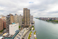 East river and Roosevelt island from  Roosevelt Island Tramway Royalty Free Stock Photo