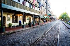 East River Street in Savannah, Georgia. Royalty Free Stock Photography
