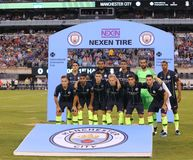 Manchester City line-up against Liverpool FC in the 2018 International Champions Cup game at MetLife stadium. EAST RUTHERFORD, NJ - JULY 25, 2018: Manchester stock image