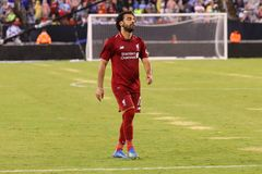 Mohammed Salah #11of Liverpool FC in action against Manchester City during 2018 International Champions Cup game. EAST RUTHERFORD, NJ - JULY 25, 2018: Mohammed royalty free stock photo