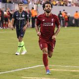 Mohammed Salah #11of Liverpool FC in action against Manchester City during 2018 International Champions Cup game. EAST RUTHERFORD, NJ - JULY 25, 2018: Mohammed stock image