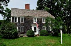 East Sandwich, MA: 1678 Benjamin Nye Homestead. East Sandwich, Massachusetts - July 15, 2015:  Historic 1678 timber frame, shingled Benjamin Nye Homestead and Stock Photography