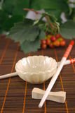 East set. Cup and chopsticks on a wooden napkin against plants Royalty Free Stock Image