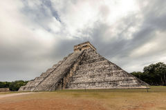 East side of the El Castillo pyramid in Chichen Itza Royalty Free Stock Images