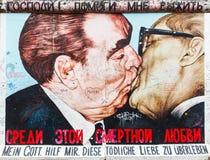 East side gallery, Berlin. The Kiss by Dmitry Vrubel on Berlin Wall at East Side Gallery stock photography