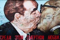 East Side Gallery, Brotherhood Kiss Stock Image