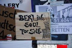 East Side Gallery. CIRCA MARCH 2013 - BERLIN: Niemand hat die Absicht eine Luxus Wohnanlage zu errichten - protests against a construction site at the East Side Royalty Free Stock Photo