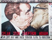 East side gallery graffiti kiss Stock Photo