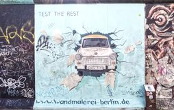 East side gallery graffiti trabant Royalty Free Stock Images