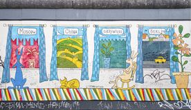 East side gallery graffiti windows Royalty Free Stock Photography
