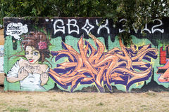 East Side Gallery - Street Art and Graffiti in Berlin, Germany Stock Photo