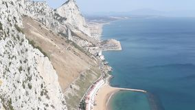 The East Side of Gibraltar. Gibraltar, United Kingdom, 1st October 2018:- The East side of the Rock looking towards Spain and Sandy Bay. Gibraltar is a British stock footage
