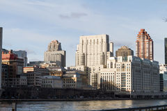 Manhattan from Roosevelt Island. East Side of Manhattan from Roosevelt Island stock photo