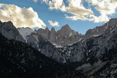 East side peaks of the Sierra Nevada Mountains stock photography