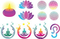 East Spiritual Vector Logo, Illustration and Elements. For many purpose such as Yoga Class promo kit, website or blog banner, health book, etc. EPS 10 with high Stock Illustration