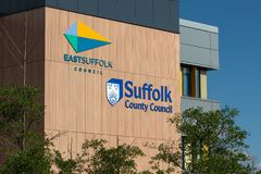East Suffolk Council and Suffolk County Council sign and logo in Lowestoft, Suffolk, England royalty free stock photography