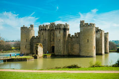 EAST SUSSEX/ENGLAND - April 10, 2014 - Bodiam Castle is a 14th-century moated castle near Robertsbridge in East Sussex, England. I. Bodiam Castle is a 14th stock images